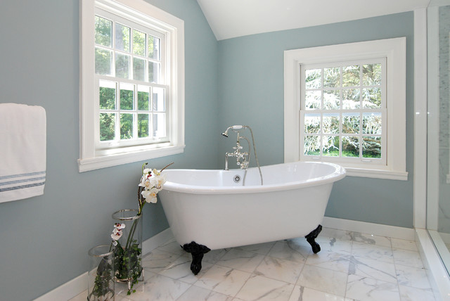 Ksm150pser Bathroom Contemporary with Baseboards Blue Walls Claw