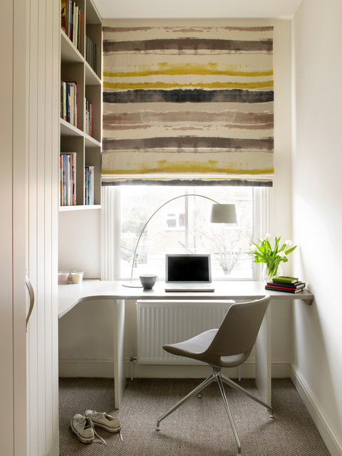 L Shaped Desk with Hutch Home Office Contemporary with Beige Carpet Beige Desk