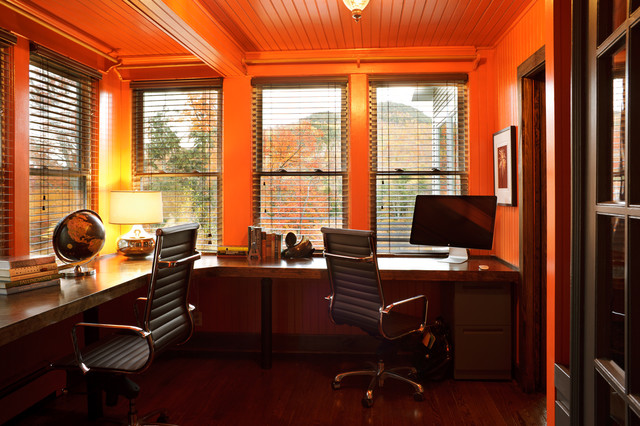L Shaped Desk with Hutch Home Office Modern with Bead Board Blinds Built