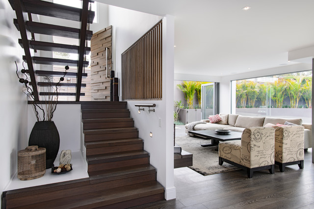 Laminate Stair Treads Staircase Contemporary with Armless Chairs Dark Stained