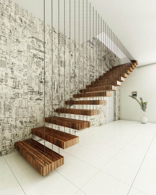 Laminate Stair Treads Staircase Contemporary with Black and White Wallpaper