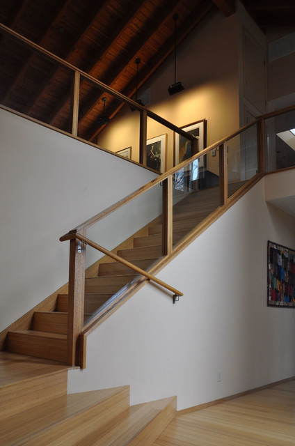 Laminate Stair Treads Staircase Transitional with Bamboo Flooring Douglas Fir