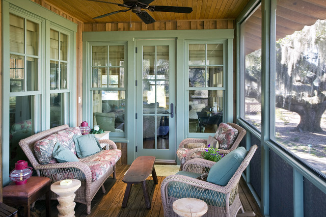 Larson Storm Windows Porch Rustic with Bench Ceiling Fan Craftsman