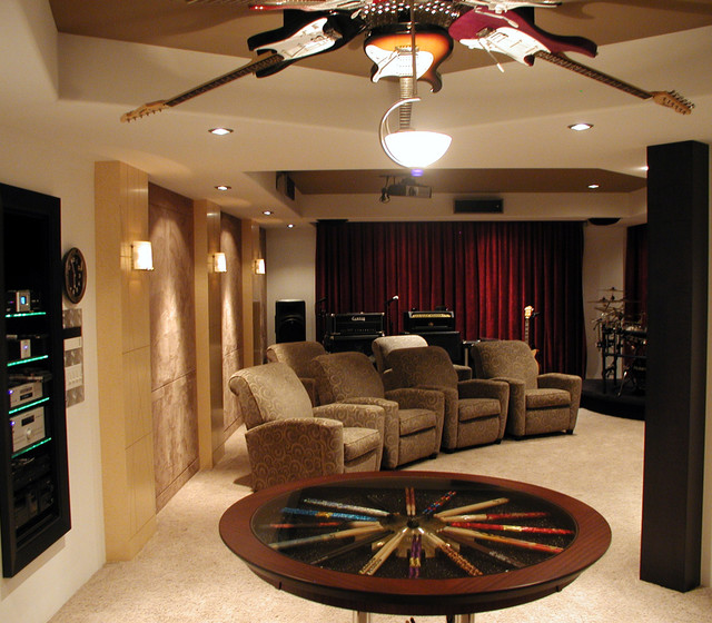 Lazy Boy Recliner Home Theater Contemporary with Ceiling Lighting Drumsticks Guitars