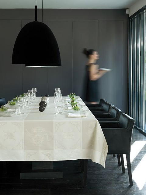 Le Jacquard Francais Dining Room Contemporary with Acrylic Coated Asian Influence