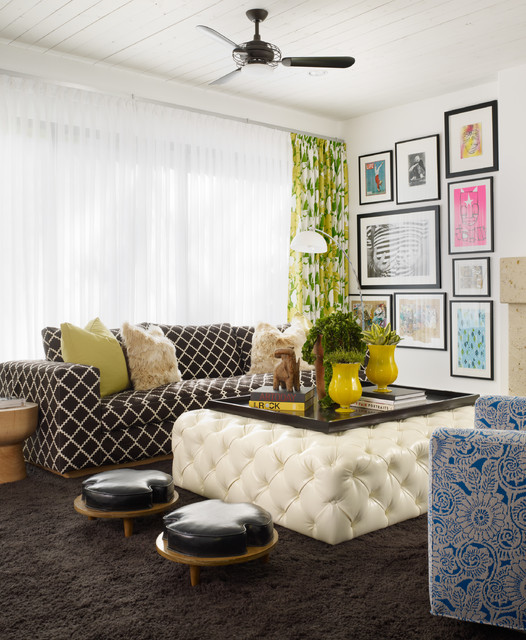 Leather Valet Tray Family Room Contemporary with Black and White Sofa