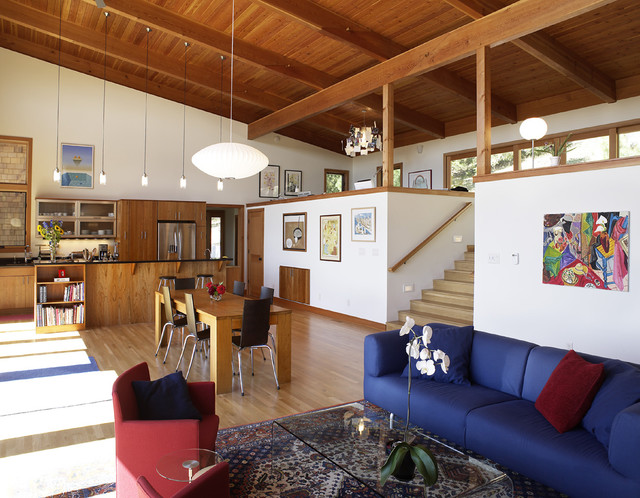 Levelor Living Room Contemporary with Artwork Baseboards Exposed Beams
