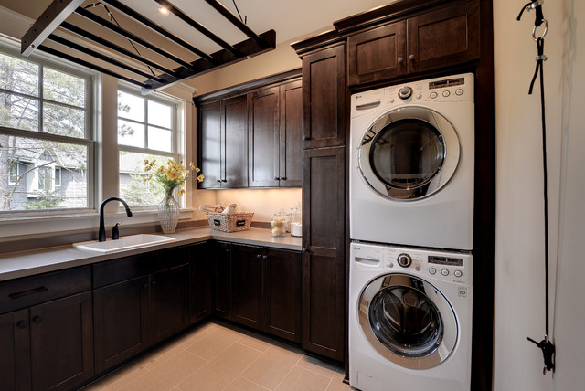 Lg Front Load Washer Reviews Laundry Room Traditional with Beige Countertop Corner Dark
