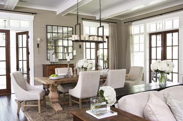 lighted wall mirror Dining Room Traditional with area rug coffered ceiling