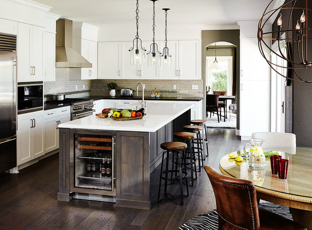 Liora Manne Kitchen Transitional with Barstools Black Countertops Chandelier