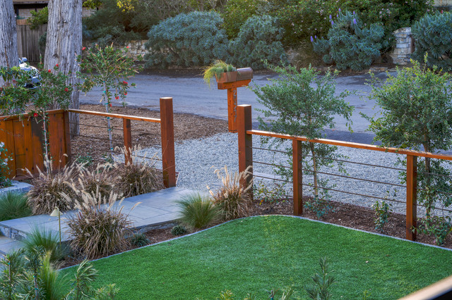 Lockable Mailbox Landscape Transitional with Artificial Turf Beach California1