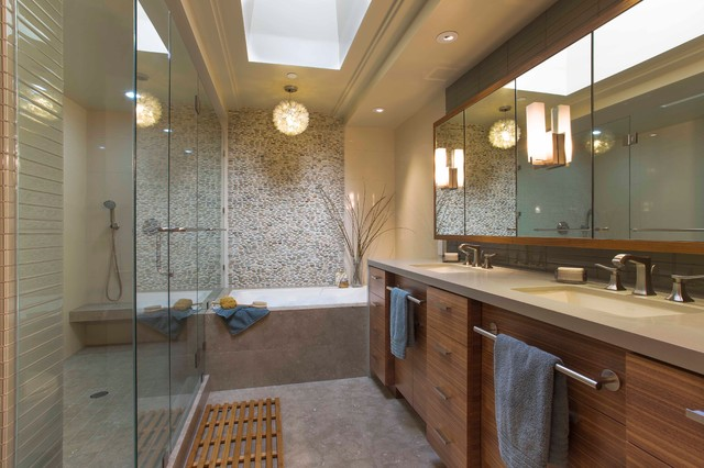 Locksmith San Jose Bathroom Contemporary with Double Sinks His And