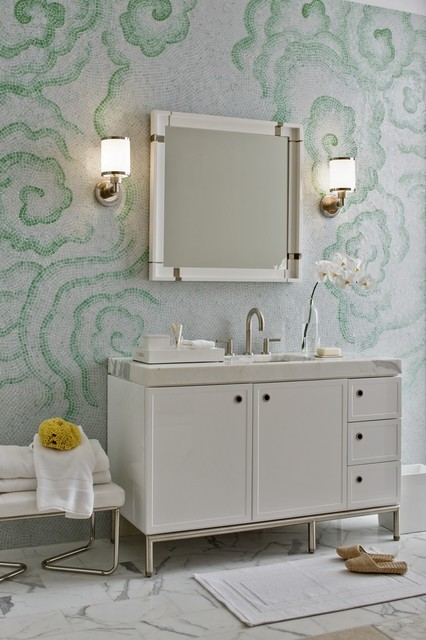 love sack Bathroom Contemporary with chrome frame and panel