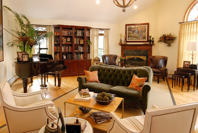Lovesack Family Room Traditional with Area Rug Bookcase Bookshelves