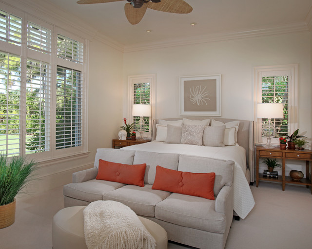 Loveseat Sofa Bed Bedroom Tropical with Baseboards Bedding Bedside Table