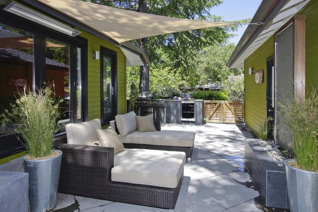 Lowes Shades Patio Contemporary with Concrete Paving Container Plants