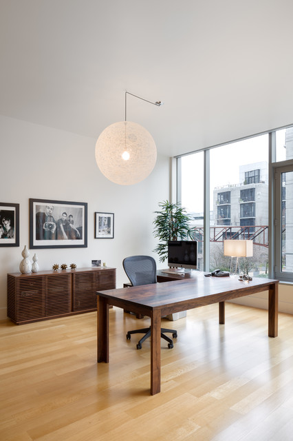 Lshaped Desk Home Office Contemporary with Black and White Photography