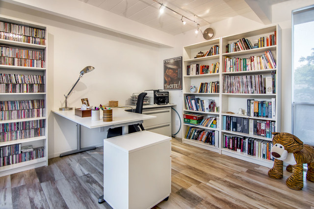 Lshaped Desk Home Office Modern with Accent Lighting Beige Wall
