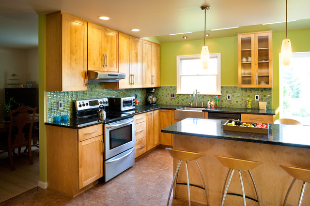 Lutron Maestro Kitchen Transitional with American Fluorescent Lights Apron1