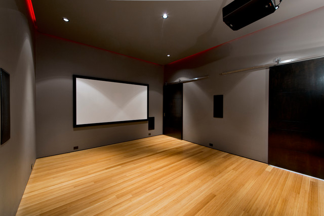 Lutron Radiora2 Home Theater Modern with Bamboo Flooring Front Projection