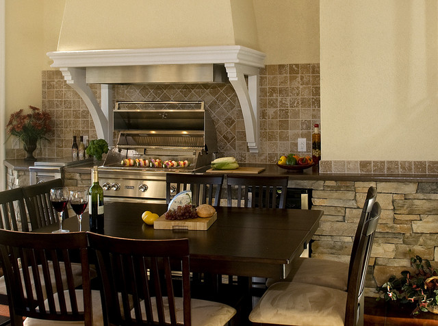 Lynx Bbq Dining Room Mediterranean with Barbecue Dark Wood Dining