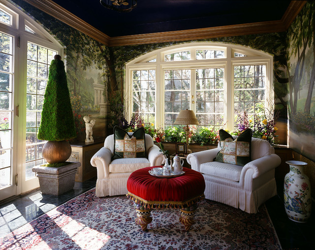 mackenzie childs sale Living Room Eclectic with arch window ASID faux