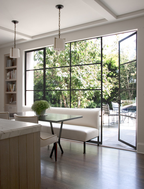 marvin windows prices Kitchen Transitional with banquette bookshelves breakfast area