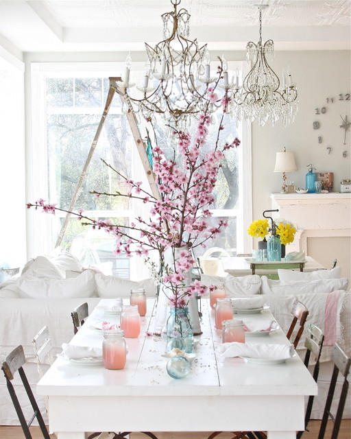 Mason Jar Drinking Glasses Dining Room Shabby Chic with Bistro Chairs Cherry Blossoms