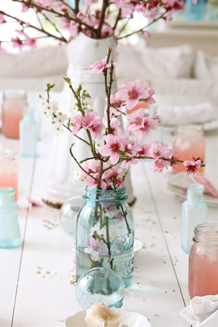 Mason Jar Drinking Glasses Spaces Shabby Chic with Bottles Cherry Blossom Glass