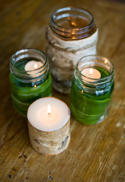 Mason Jars with Handles Dining Room Traditional with Candles Green Table Tablescape