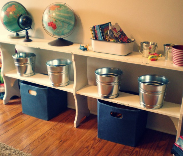 Metal Pails Kids Traditional with Bookcase Cubbies Globe Playroom