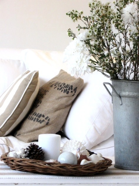 Metal Pails Living Room Shabby Chic with Cottage