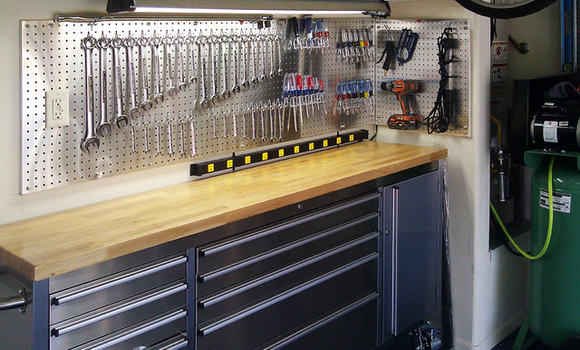 Metal Pegboard Garage and Shed Contemporary with Aluminum Pegboard Hanging Display