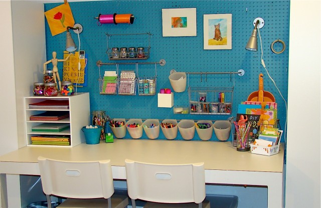 Metal Pegboard Kids Eclectic with Art Room Blue Wall