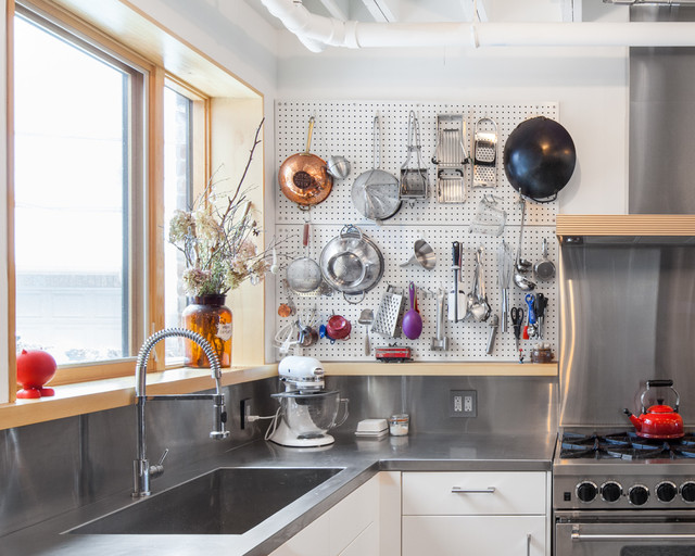 Metal Pegboard Kitchen Industrial with Backsplash Commercial Eclectic House