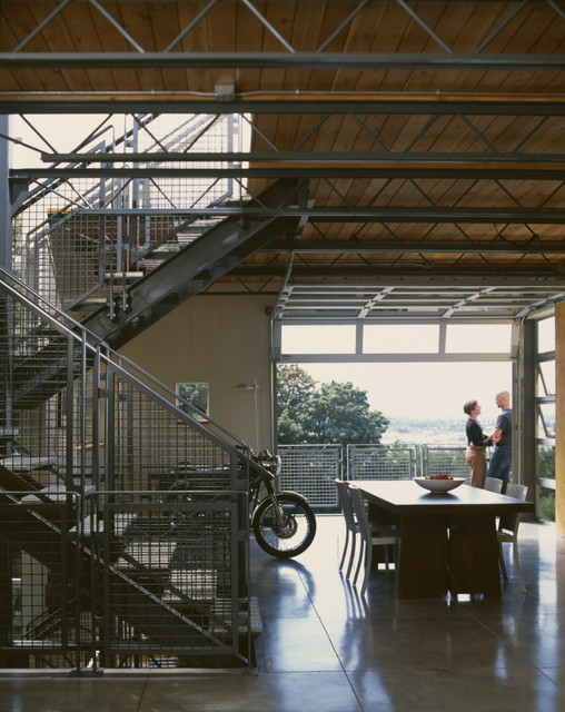 Metal Trusses Dining Room Industrial with Balcony Exposed Beams Freestanding