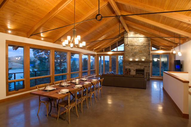 Metal Trusses Living Room Traditional with Bow String Truss Cabin