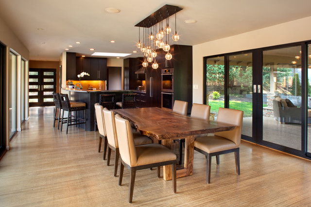 Milgard Doors Dining Room Contemporary with Beige Dining Chairs Chandelier