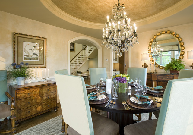 Mirrored Tray Dining Room Traditional with Arched Doorways Area Rug