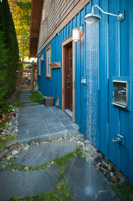 Moen Posi Temp Valve Patio Traditional with Blue Siding Charming Cottage