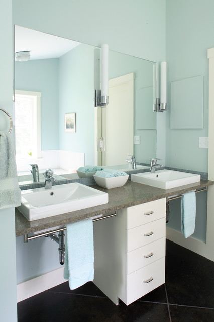 Moen Sinks Bathroom Contemporary with Above Counter Sinks Blue
