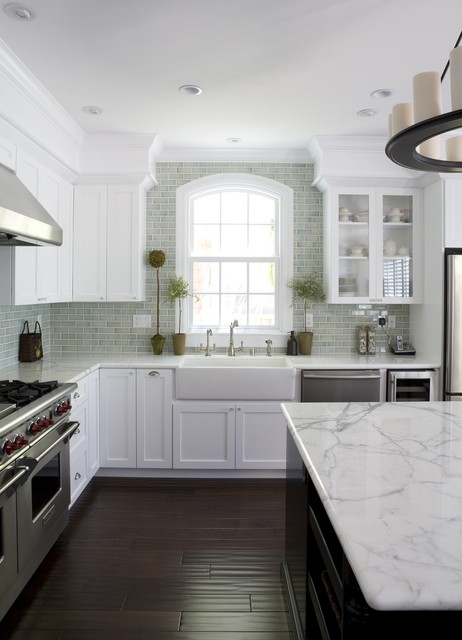 moen sinks Kitchen Traditional with apron sink arched window