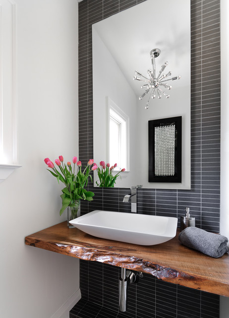Moen Sinks Powder Room Contemporary with Black Tile Chandelier Charcoal