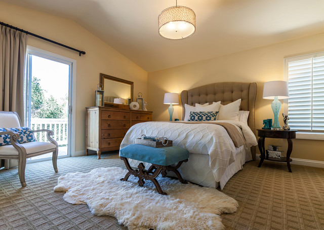 Mohawk Rugs Bedroom Transitional with Blue Accents Blue Lamps