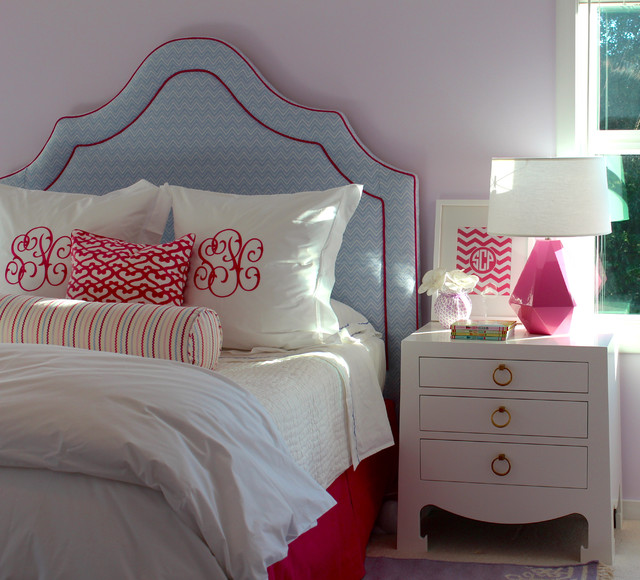 Monogrammed Pillowcases Bedroom Traditional with Blue Bolster Bungalow 5