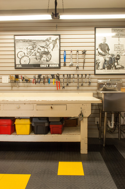 mop sink Garage And Shed Traditional with black and white photos