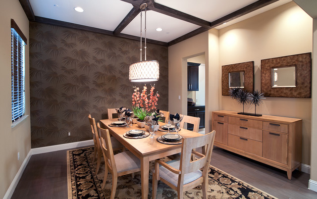 Murray Feiss Lighting Dining Room Contemporary with Accent Wall Area Rug