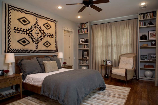 Native American Rug Bedroom Transitional with Beige Armchair Beige Curtain