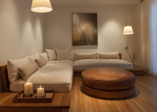 Naturepedic Twin Mattress Family Room Transitional with Candles Hardwood Flooring Neutral