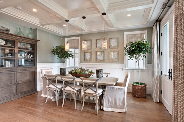 New Home Builders in Dfw Dining Room Beach with Chair Cushions Coffered Ceiling